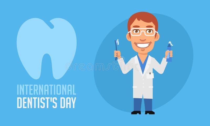 Dentiste international Holding Toothpaste et Toothb de jour de dentistes illustration libre de droits