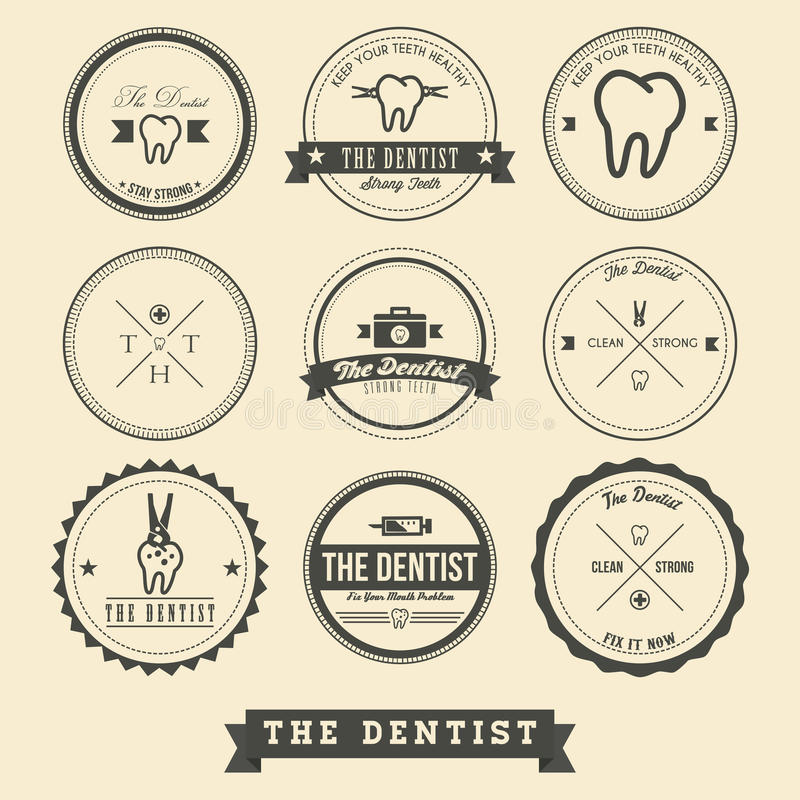Dentiste Label Design illustration de vecteur