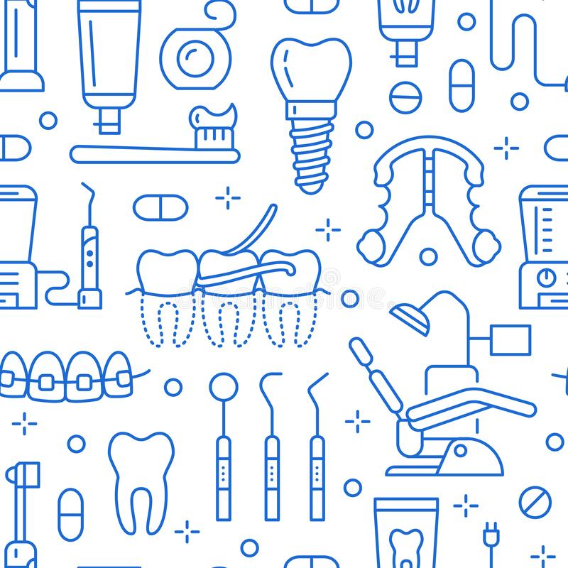 Dentiste, modèle sans couture bleu d'orthodonties avec la ligne icônes Soins dentaires, matériel médical, accolades, prothèse de  illustration libre de droits