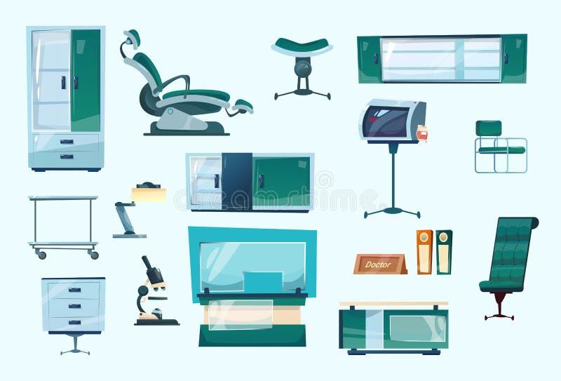 Dentiste réglé Workplace Hospital Medicine d'équipement dentaire de clinique illustration libre de droits