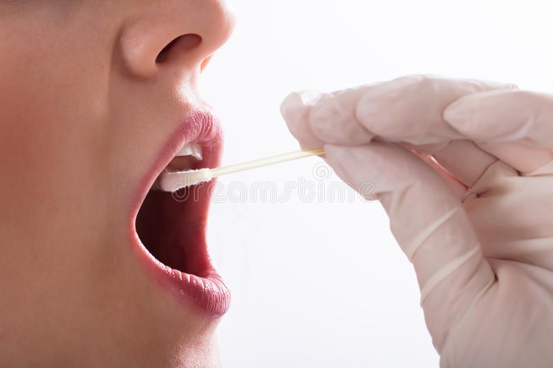 Dentiste Taking Saliva Test d'un patient image stock