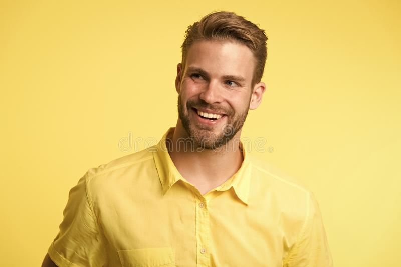 Dentistry concept. Man handsome bearded guy smiling on white background isolated. Guy cheerful smile macho feels happy royalty free stock image
