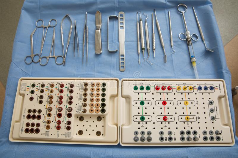Dentistry. Dental implantation surgical set royalty free stock images