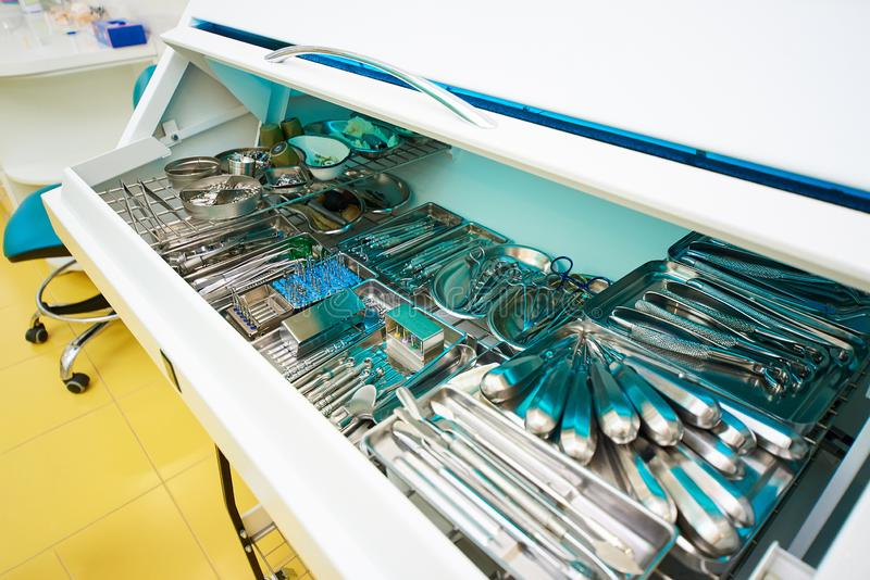 Dentistry, dental treatment. Dental instrument, precisely located in a special chamber, dentistry office, dental treatment stock photo