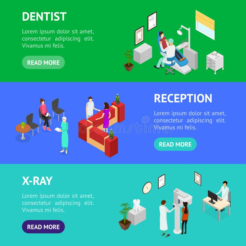 Dentistry Interior Banner Horizontal Set Isometric View. Vector vector illustration