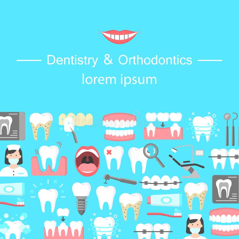 Dentistry and orthodontics flat icons banner. With dental instruments oral cavity denture veneers implant calculus crown. Colorful template for design prints royalty free illustration