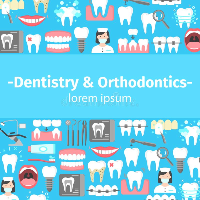 Dentistry and orthodontics flat icons banner. With dental instruments oral cavity denture veneers implant calculus crown. Colorful template for design prints vector illustration
