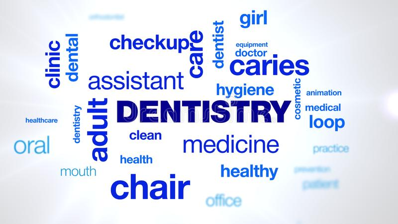 Dentistry patient, dental, dentist, hygiene, teeth, animated word cloud, text design animation. Dentistry patient, dental, dentist, hygiene, teeth animated word royalty free stock images