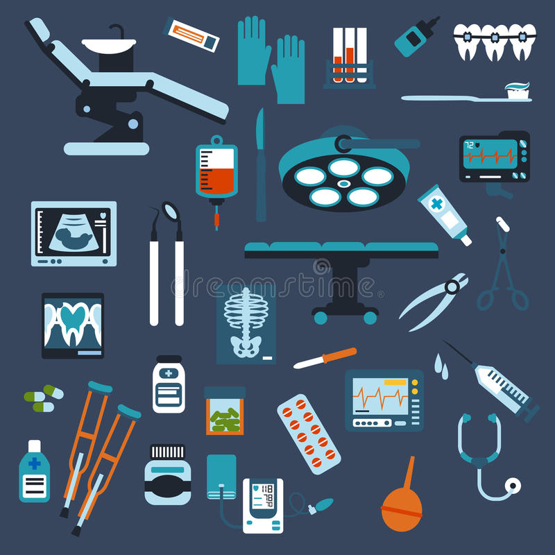 Dentistry, surgery and medical checkup flat icons. Dentistry, surgery, medical checkup medication icons with pills, syringe, dentist chair and surgical table stock illustration