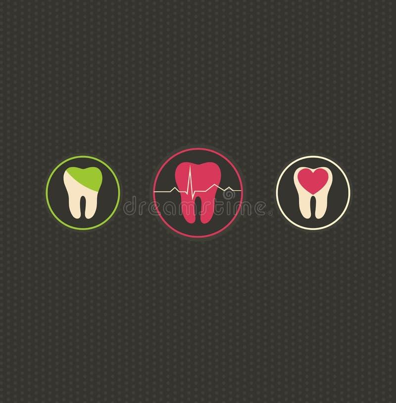 Dentistry symbols, dark dots background vector illustration