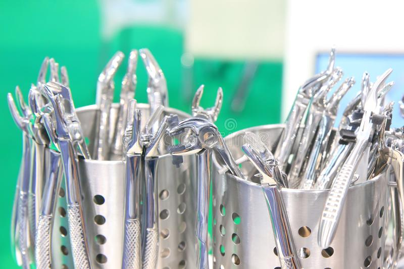 Dentists tools. Surgical steel dentists tools. Dentists tools. Dental tools. Stainless steel dentist tools. Surgical steel tools royalty free stock images