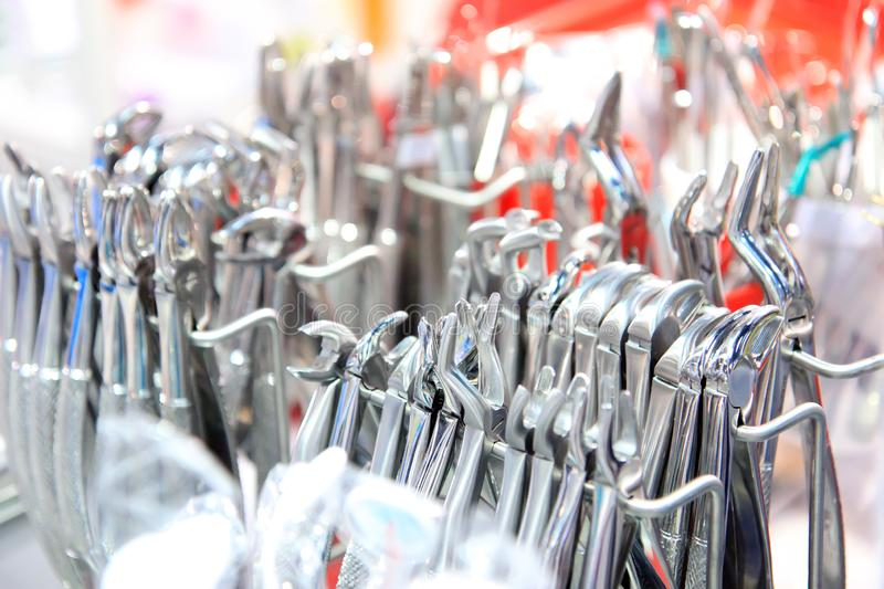 Dentists tools. Surgical steel dentists tools. Dentists tools. Dental tools. Stainless steel dentist tools. Surgical steel tools royalty free stock image