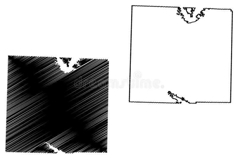 Denton okręg administracyjny, Teksas okręgi administracyjni w Teksas, Stany Zjednoczone Ameryka, usa, U S , USA mapy wektorowa il ilustracja wektor
