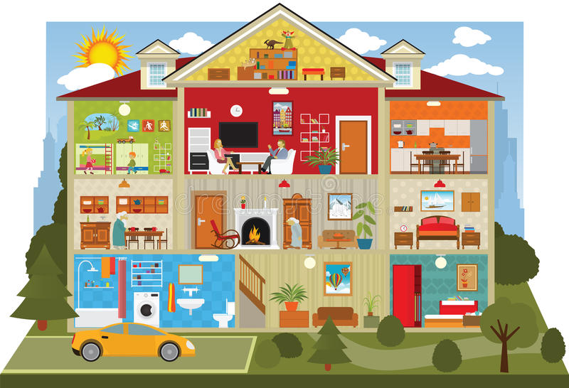 Dentro da casa ilustração royalty free