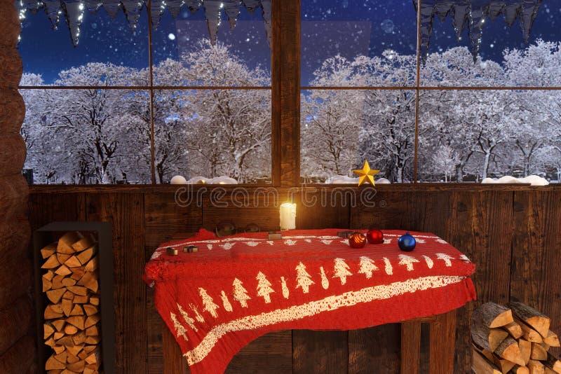 Dentro da casa de madeira com a decoração do Natal em wi bonitos imagens de stock