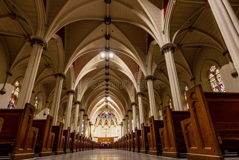 Dentro da Catedral de Halifax, no Canadá fotografia de stock