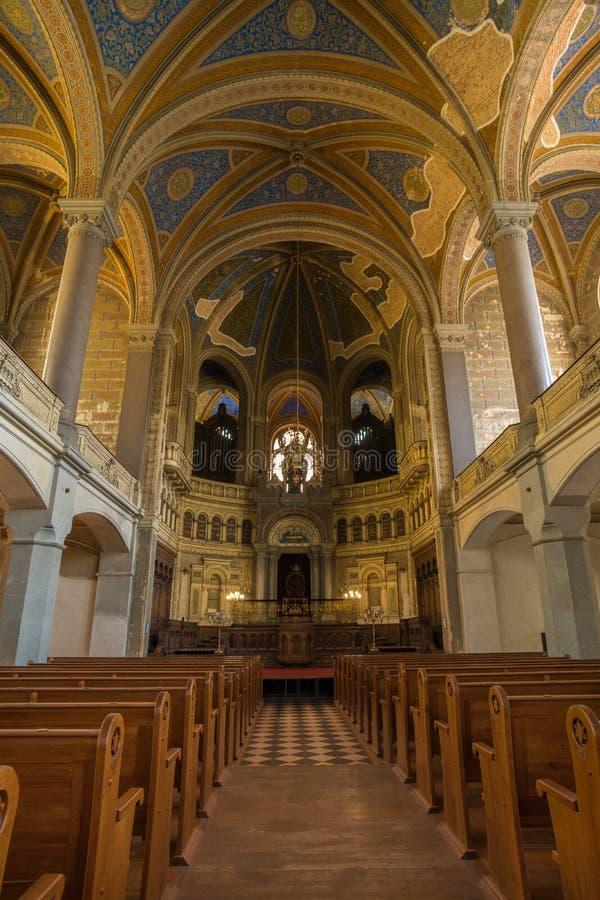 Dentro da grande sinagoga em Plzen, república checa fotografia de stock