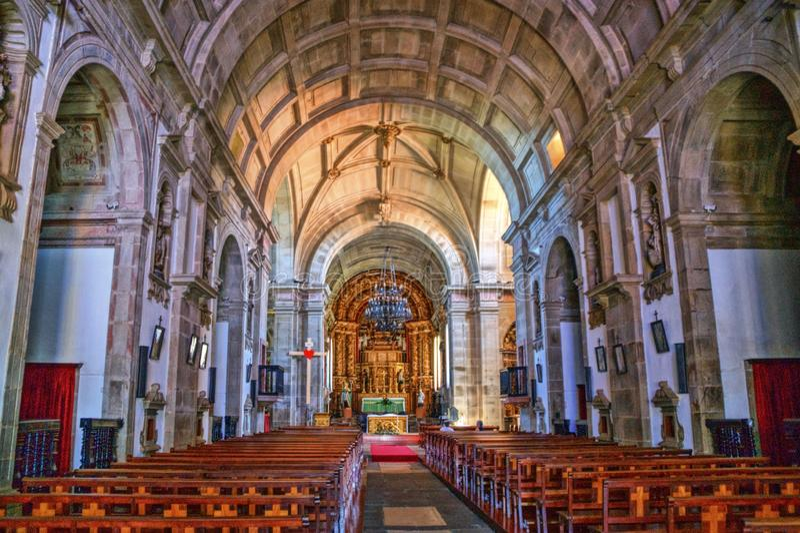 Dentro da igreja de Loios em Santa Maria da Feira fotografia de stock royalty free