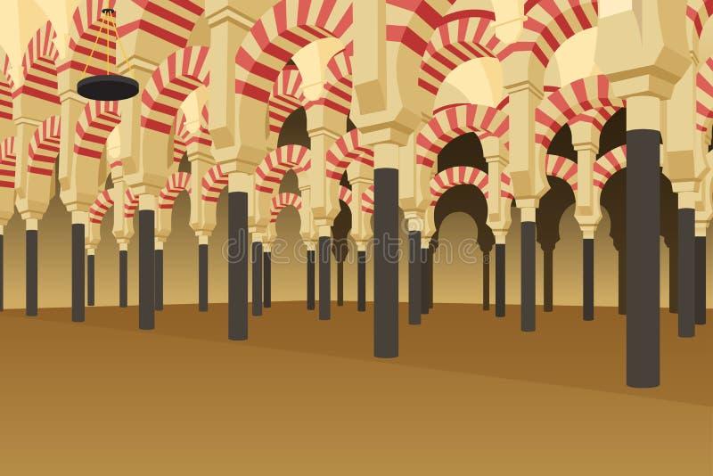 Dentro de Alhambra Palace na ilustração da Espanha ilustração do vetor
