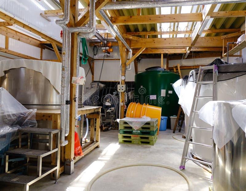 Dentro de fábrica del vino del motivo en Akita, Japón fotografía de archivo libre de regalías