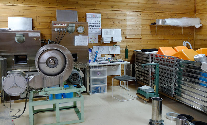 Dentro de fábrica del vino del motivo en Akita, Japón fotos de archivo libres de regalías