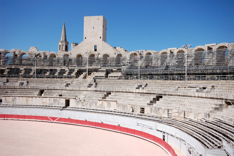 Dentro de la arena en Arles fotos de archivo libres de regalías