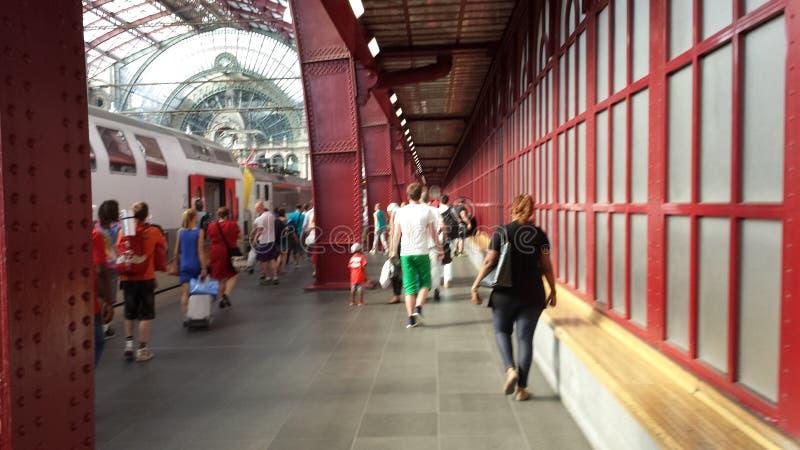 Dentro de la central Trainstation de Amberes fotografía de archivo libre de regalías