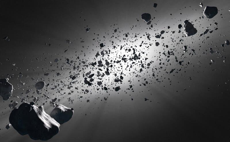 Dentro de la correa asteroide contra el sol libre illustration