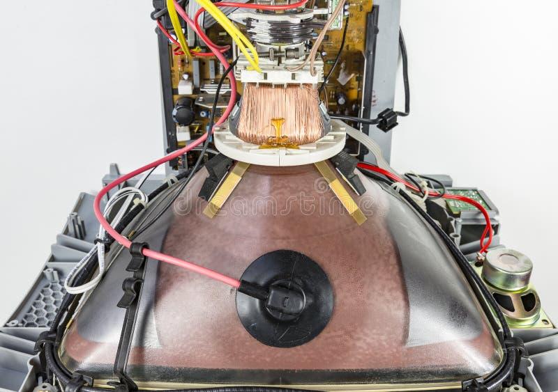 Dentro de um aparelho de televisão, de um CRT, de uma bobina e de um garfo de deflexão, de um cabo da tensão excessivamente alta, imagens de stock