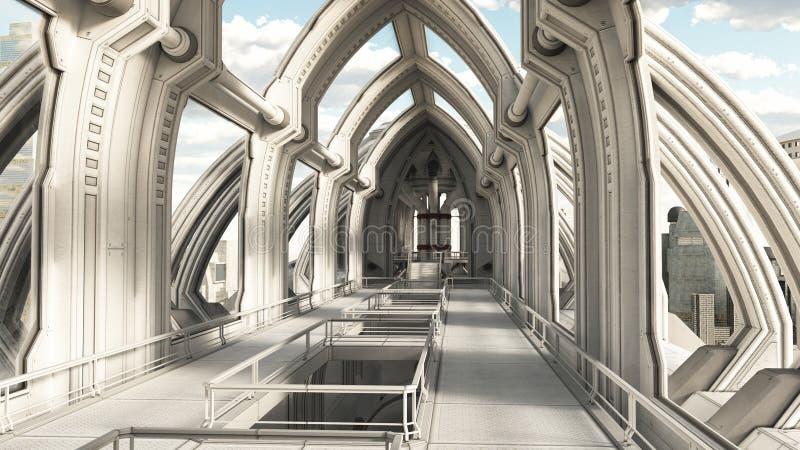 Dentro de uma cidade futura ilustração royalty free