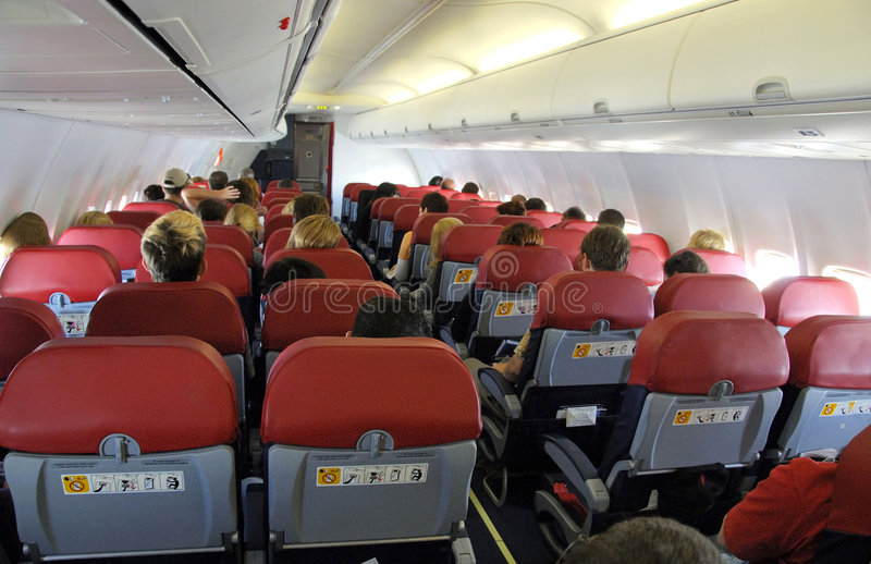 Dentro de un aeroplano fotografía de archivo libre de regalías