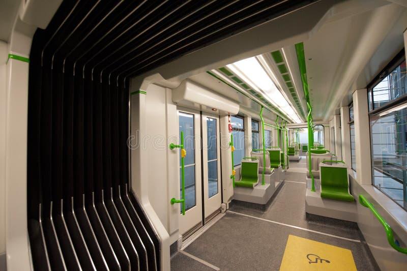 Dentro de un coche de subterráneo vacío fotografía de archivo libre de regalías
