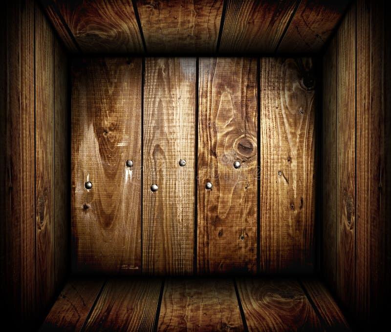 Dentro de un embalaje de madera vacío. Rectángulo de madera foto de archivo