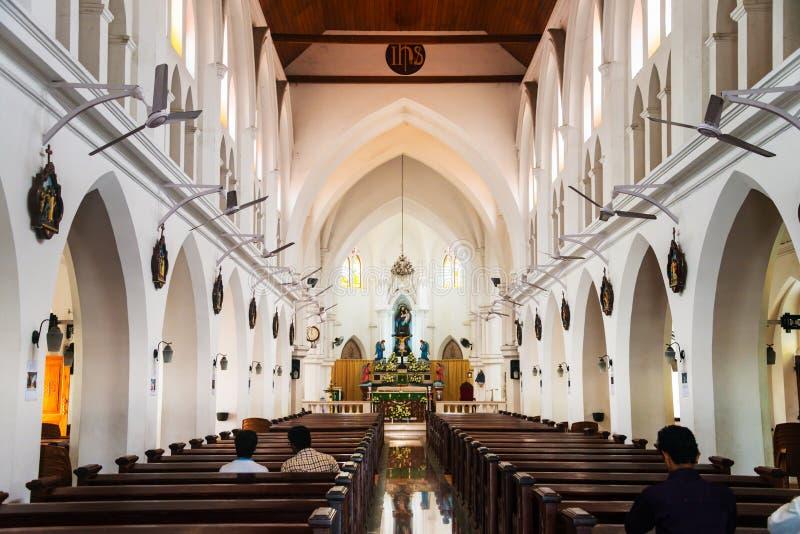 Dentro de un St Andrews Church en Kerala, la India imagen de archivo libre de regalías
