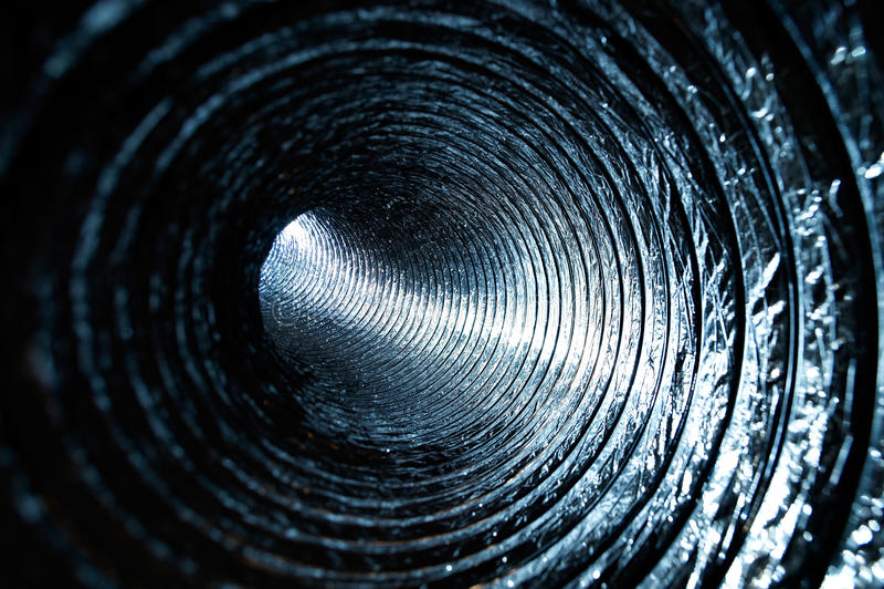 Dentro de un tubo de aire fotografía de archivo