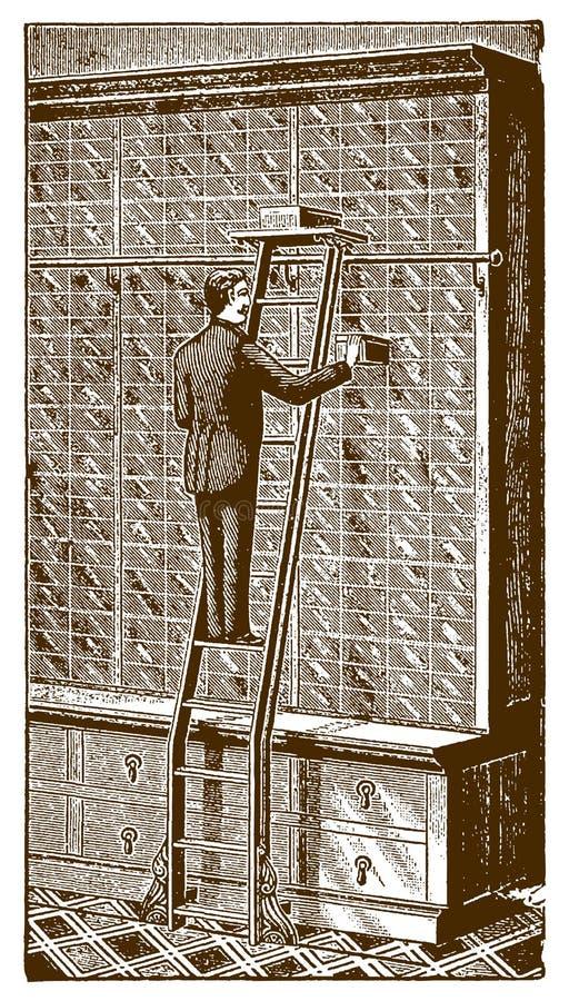 Dentro de una tienda histórica una situación del vendedor en una escalera de la bici de la pista del piso y saque de una caja de  ilustración del vector