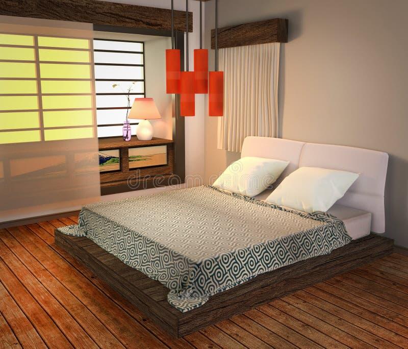 Dentro del dormitorio - estilo japonés, piso de madera en el fondo blanco de la pared representaci?n 3d stock de ilustración