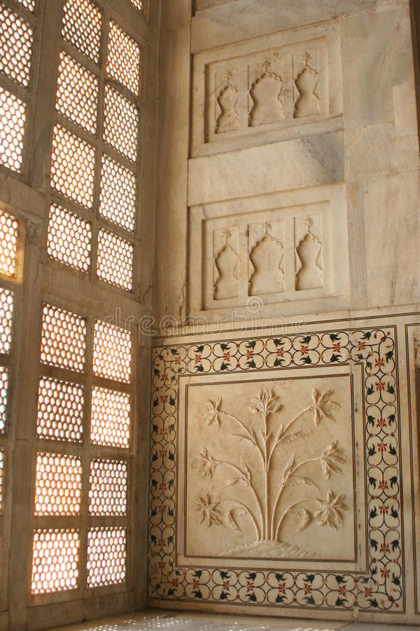Dentro del Taj Mahal foto de archivo