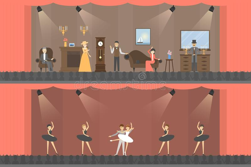 Dentro del teatro stock de ilustración