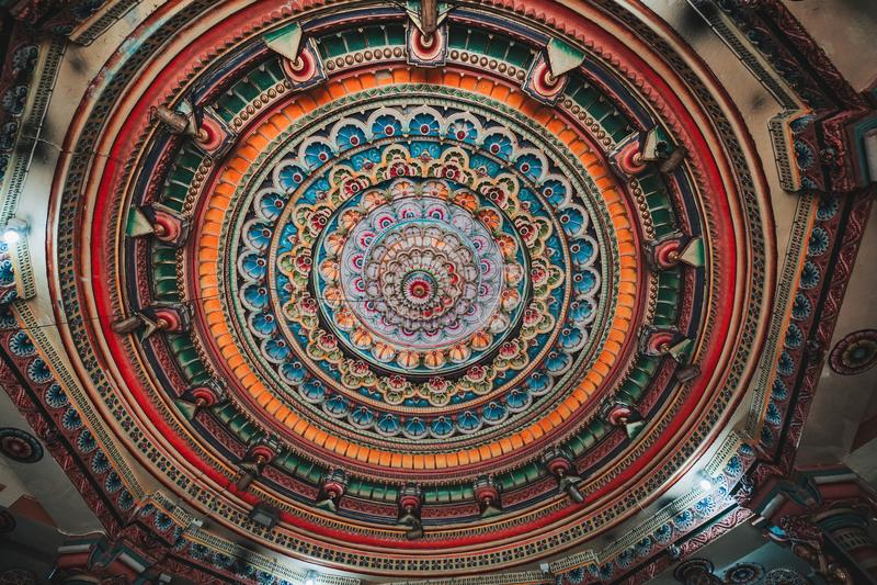 Dentro del tempio indù di Meenakshi a Madura, Tamil Nadu, I del sud immagini stock libere da diritti