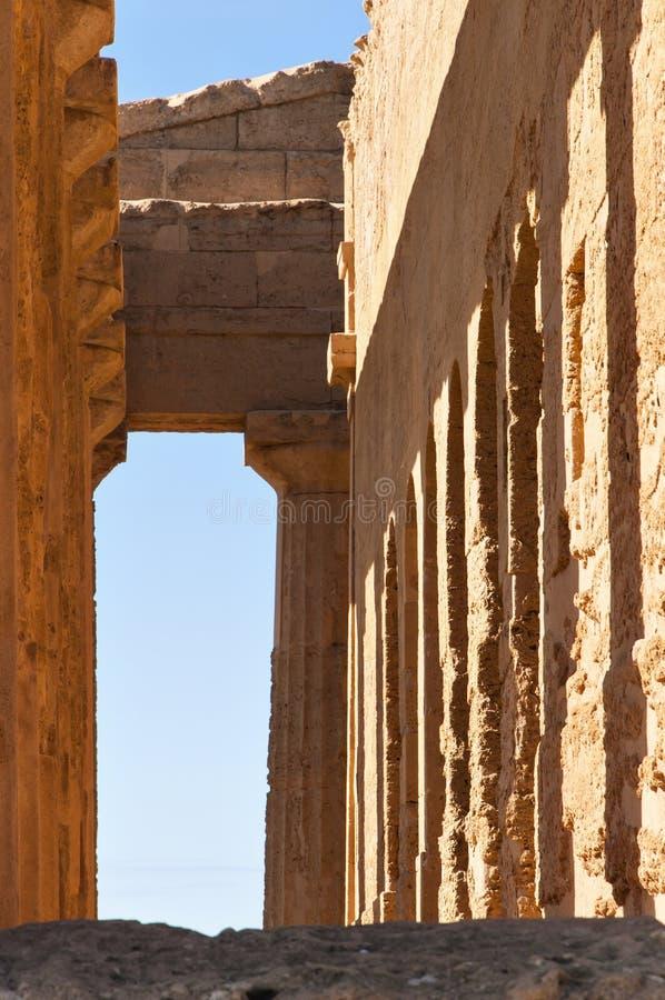 Dentro del templo de Concordia fotografía de archivo libre de regalías