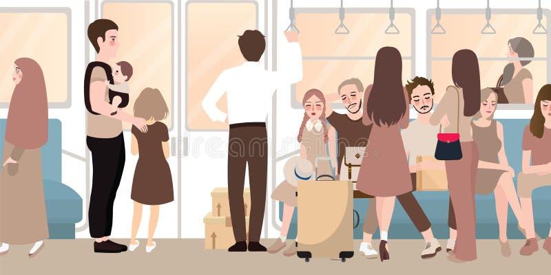 Dentro del tren ocupado por completo de la gente permanente y que se sienta del viajero del pasajero ilustración del vector