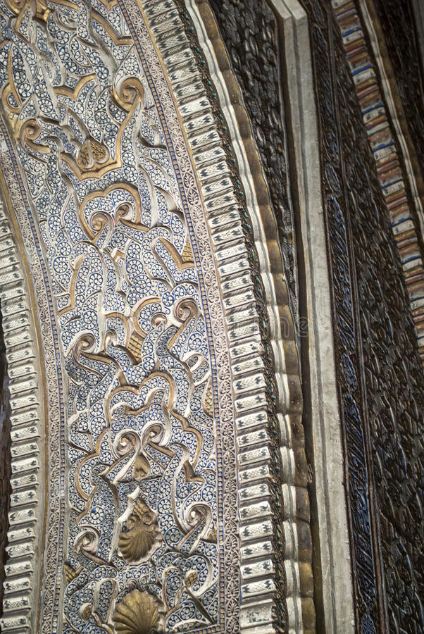 Dentro do Alcazar de Sevilha, Spain fotografia de stock royalty free