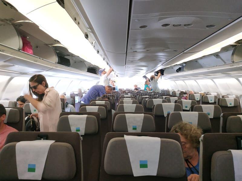 Dentro do avião nivelado novo foto de stock