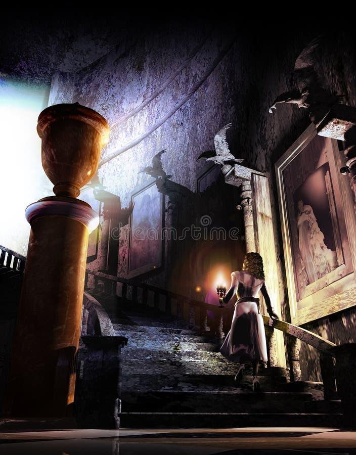 Dentro do castelo assombrado ilustração do vetor