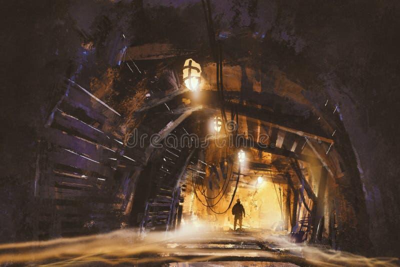 Dentro do eixo de mina com névoa ilustração do vetor