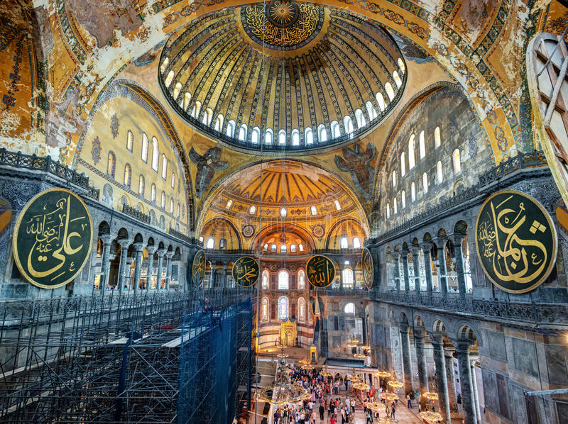 Dentro do Hagia Sophia em Istambul, Turquia fotos de stock