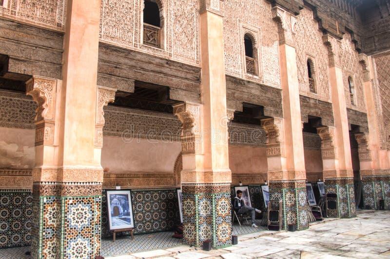 Dentro do medersa Ben Youssef em C4marraquexe, Marrocos foto de stock royalty free