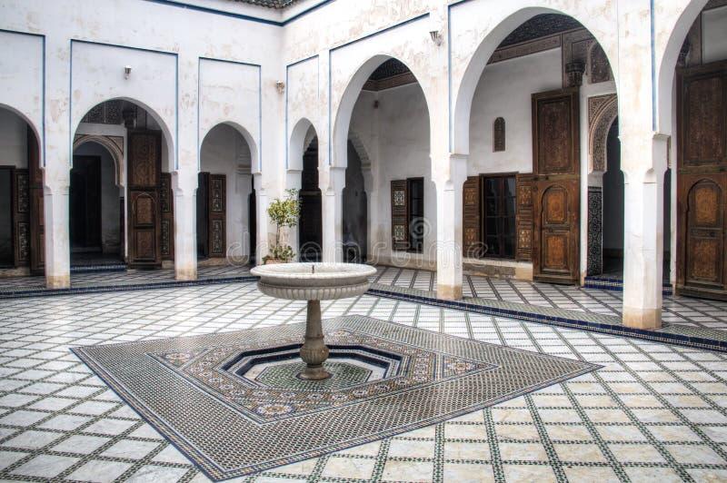 Dentro do palácio de Baía em C4marraquexe, Marrocos fotografia de stock royalty free
