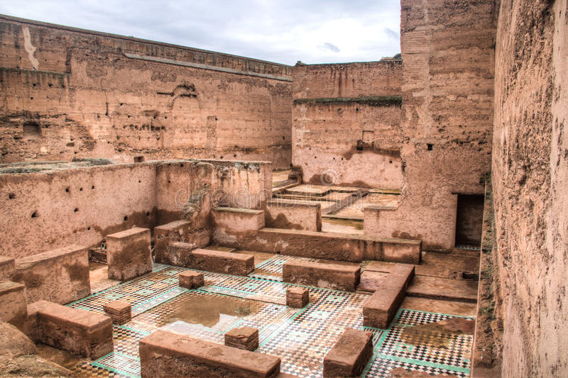 Dentro do palácio de Bab Agnaou em C4marraquexe, Marrocos imagens de stock royalty free